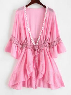 Zaful Pom-pom Crochet Panel Beach Dress - Pig Pink