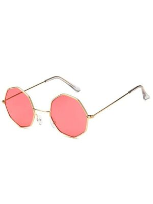 Zaful Geometric Metal Sunglasses - Watermelon Pink