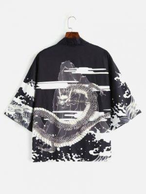 Zaful Dragon Printed Kimono Front Open Jacket - Black M