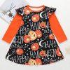 Girls Halloween Pumpkin Print A Line Dress