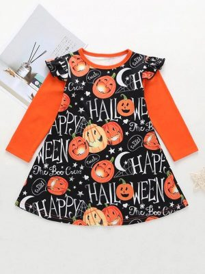 Girls Halloween Pumpkin Print A Line Dress
