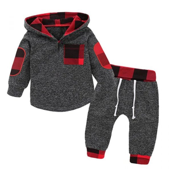 DressLily Boy's Hoodie Suit Casual Hooded Plaid Stitching