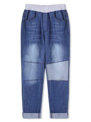 DressLily Boys Patch Rolled Hem Elastic Waist Jeans