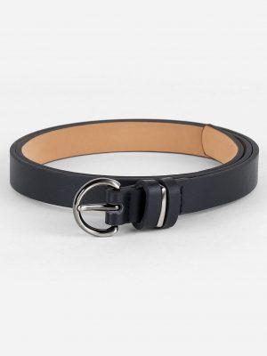 Simple Artificial Leather Skinny Waist Belt - Black
