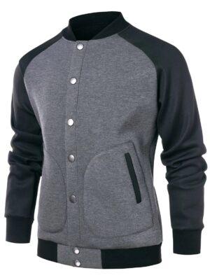 Rosegal Color Block Raglan Sleeve Baseball Jacket - M