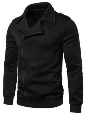 Rosegal Solid Color Zipper Up Casual Jacket - 2xl