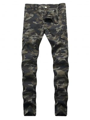 Zaful Camouflage Print Tapered Cargo Jeans - Woodland Camouflage 36