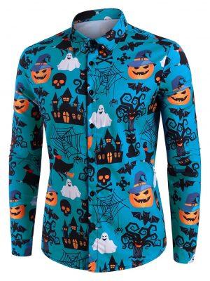DressLily Halloween Castle Pumpkin Skull Print Button Up Shirt