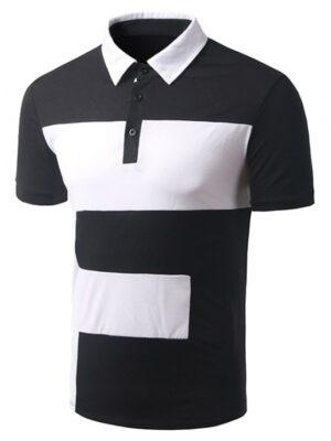 Zaful Turn-down Collar Color Block Short Sleeve T-Shirt For Men - Black M