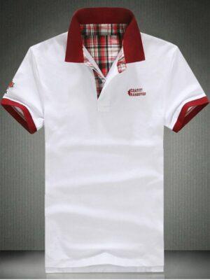 Zaful Elegant Slim Collar Short Sleeve Color Block T-Shirt For Men - White M