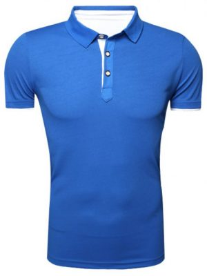 Zaful Classic Turn-Down Collar Short Sleeve T-Shirt For Men - Blue L