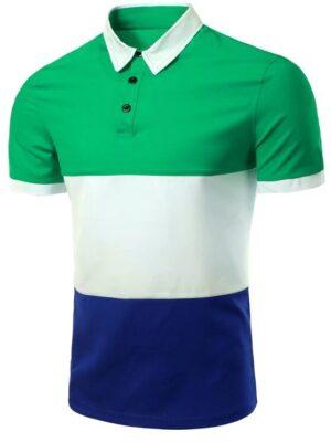 Zaful Stylish Stripes Turn-down Collar Color Block Short Sleeves T-Shirt For Men - Green 2xl