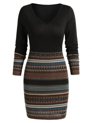 Rosegal Tribal Print V Neck Mini Bodycon Dress - L