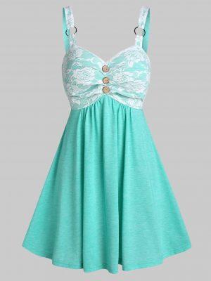 Rosegal Sleeveless Lace Insert O-ring Mock Button Dress - 2xl