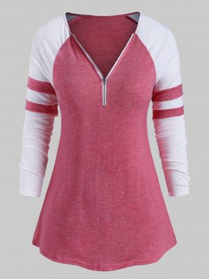 Rosegal Plus Size Half Zip Baseball Tee - 2x