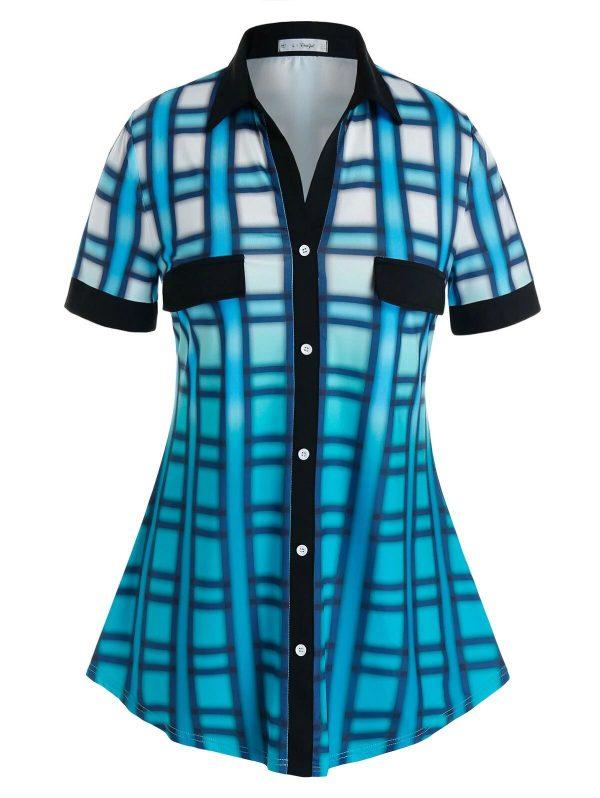 Rosegal Plus Size Mock Button Ombre Color Blouse - 2x