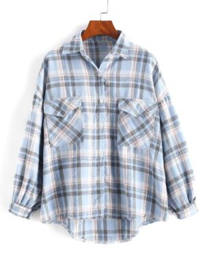 Zaful Checked Pockets Drop Shoulder High Low Shirt - Slate Blue