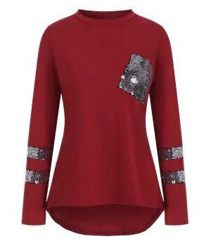 DressLily Sequined High Low Pocket Drop Shoulder T-shirt