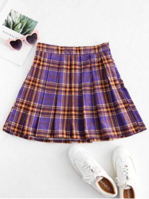 Zaful Plaid Pleated Flare Skirt - Purple Xl