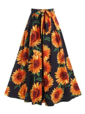 DressLily Sunflower Print Belted Maxi Skirt