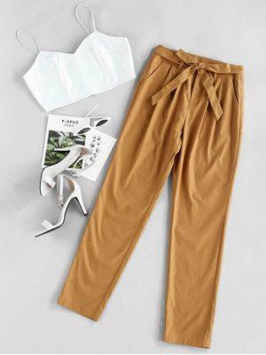 ZAFUL Cami Crop Top With Pants Two Piece Set - Caramel Xl