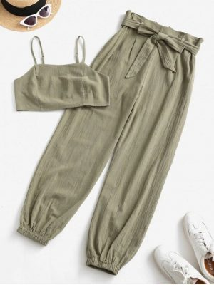 ZAFUL Smocked Back Cropped Belted Jogger Paperbag Pants Set - Camouflage Green M
