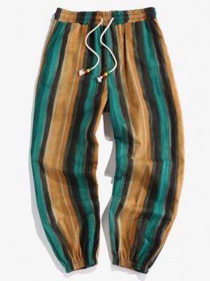 ZAFUL Striped Print Drawstring Casual Pants - Multi S
