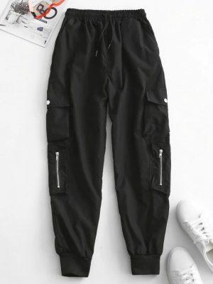 Zaful Zippered Pockets Drawstring Cargo Pants - Black M