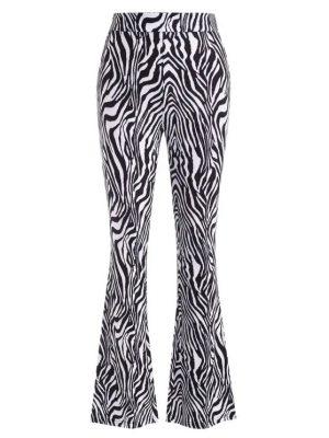 Zaful Zebra Print Flare Pants - Black S