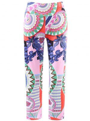 Rosegal Fashionable Elastic Waist Printed Loose-Fitting Women's Exumas Pants - L