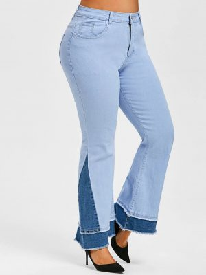 Rosegal Plus Size Bicolor Frayed Layered Cuff Flared Jeans - 2xl