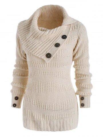 DressLily Mix Knit Irregular Turn Down Collar Mock Button Sweater
