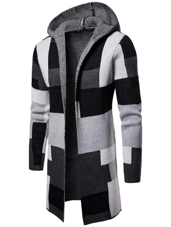 DressLily Collarless Hooded Color Block Longline Cardigan