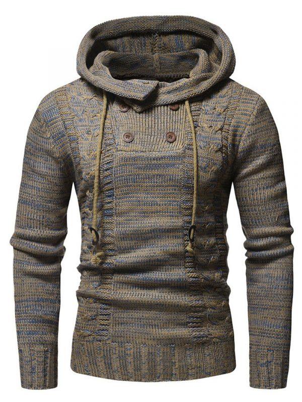 DressLily Half Button Drawstring Hooded Sweater