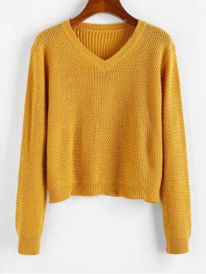 Zaful V Neck Plain Jumper Sweater - Bee Yellow S