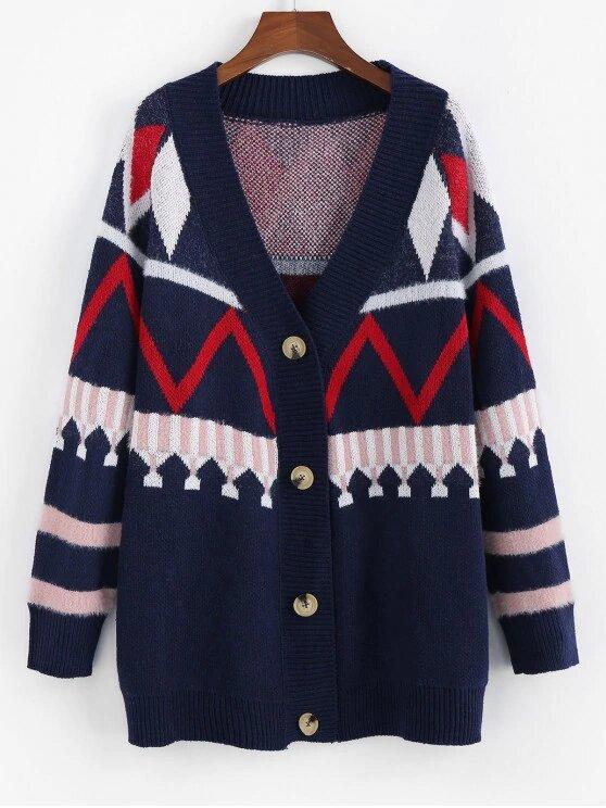 Zaful Raglan Sleeve Button Up Longline Cardigan - Cadetblue S