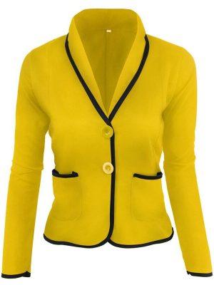 Rosegal Women's Blazer Solid Color Button Slim Blazer - 2xl