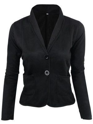 Rosegal Women's Blazer Solid Color Button Slim Blazer - Xl