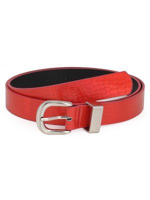 Zaful Stylish Metal PU Buckle Waist Belt - Red