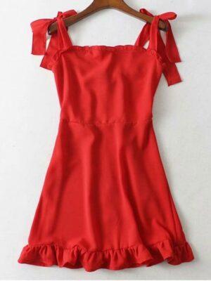 Zaful Tie Strap Ruffled Mini Dress - Red S