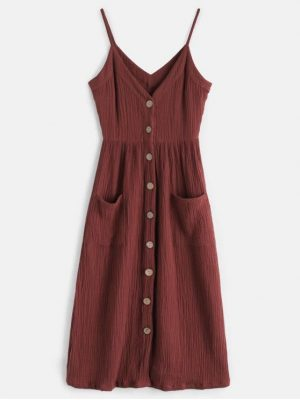Zaful Cami Button Through Woven Midi Dress - Maroon M