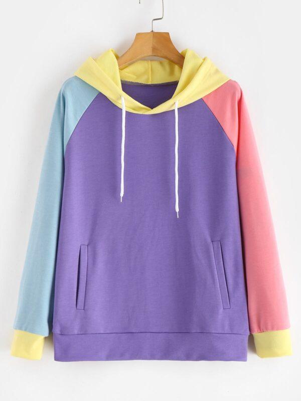 Zaful Pockets Color Block Hoodie - Crocus Purple