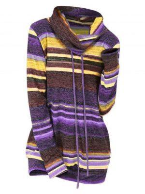 dresslily Striped Cowl Neck Drawstring Knitwear