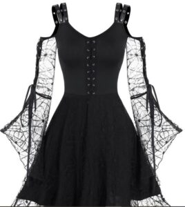 Dresslily Spider Web Lace High Low Gothic Dress