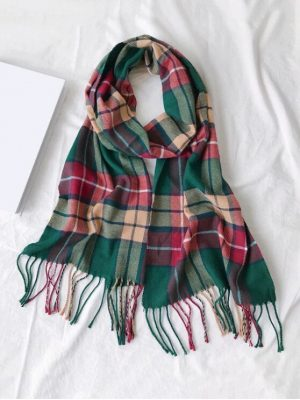 Zaful Plaid Fringe Faux Cashmere Long Scarf - Army Green