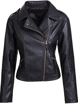 Womens Slim Tailoring Faux Leather PU Short Jacket