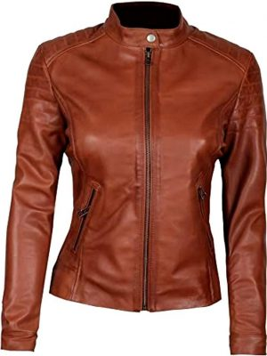 Blingsoul Brown Womens Leather Jacket