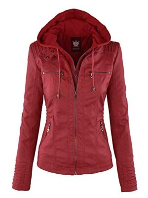 Lock and Love Women's Removable Hooded Faux Leather
