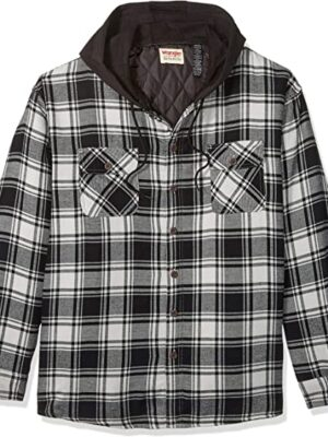Men's Long Sleeve Quilted Lined Flannel Shirt Jacket