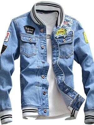 Men Denim Jacket With Patches